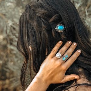 Sterling Silver Two Stone Turquoise Boho Ring